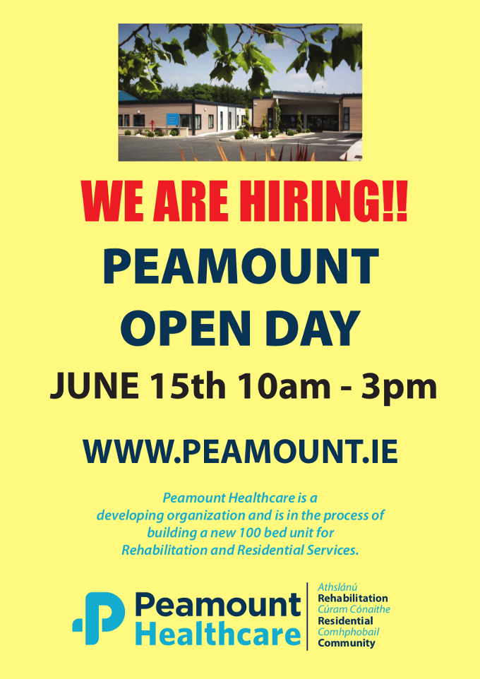We Are Hiring! Peamount Open Day - June 15th; 10am - 3pm